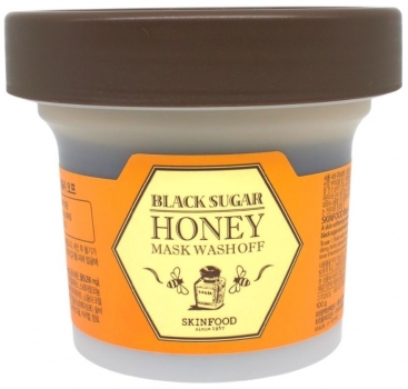 Orange-braune Dose mit Skinfood Black Sugar Honey Mask Wash Off Peeling Maske
